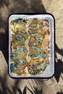 Buckwheat galettes with spinach béchamel
