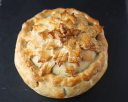 Celeriac, leek, chestnut and cranberry pies