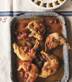 Roast supreme of guinea fowl with sherry and grapes