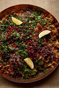 Harak Osbao (lentils and pasta with tamarind, sumac and pomegranate)