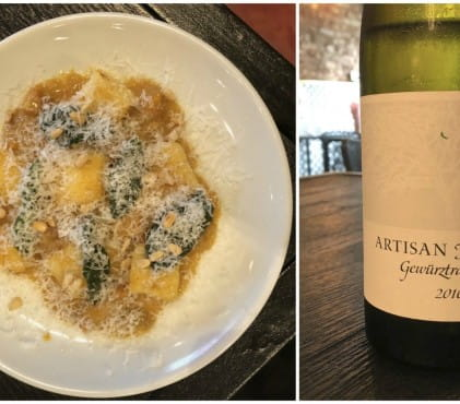 Pumpkin gnocchi and gewurztraminer