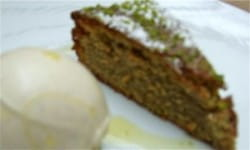 Cherry, pistachio and coconut cake and Seifried 'Sweet Agnes' riesling